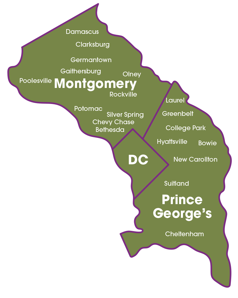 Areas We Serve in Maryland and Washington